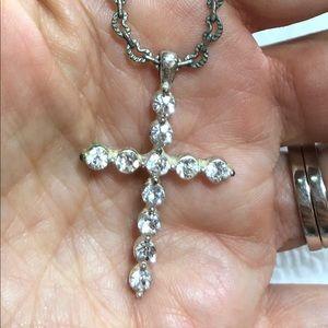 Vintage Rhinestone Silver Tone Cross Pendant Chain